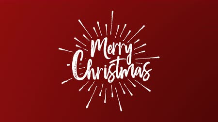 Merry Christmas typography writting animation of xmas quote on festive red background. Hand drawn text intro for video greeting card or celebration event presentation. 4k holiday footage.