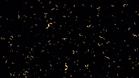 Gold party confetti falling on transparent background effect of golden streamers flying down for holiday, anniversary or surprise event. Seamless loop footage.