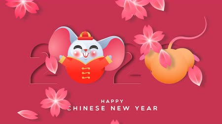 Chinese New Year of the rat 2020 cartoon motion graphics animation. Funny mouse animal inside paper cut calendar number with pink plum blossom flower falling. Cute animated video card loopable footage.