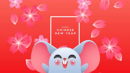 Chinese New Year of the rat 2020 cartoon animation. Cute mouse animal presents China festival waving with pink plum blossom flowers falling. Funny animated say hello new year video card 4k footage.