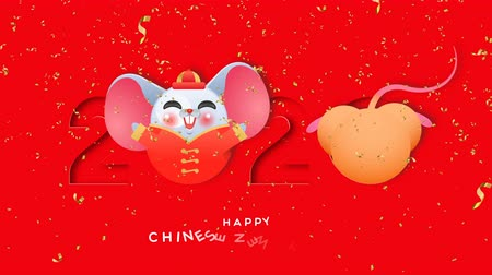 Chinese New Year of the rat 2020 cartoon animation. Funny mouses play inside paper cut calendar number with traditional asian costume and confetti background. Cute animated video card footage. Stock mozgókép