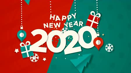 Happy New Year 2020 animation, paper cut with baubles, gift and holiday pine tree. Paper craft video greeting card of calendar number for eve party, xmas footage fade out to black background. Wideo
