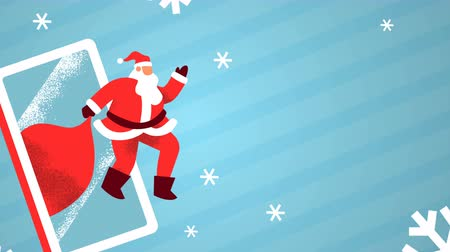 Merry Christmas animation of santa claus man waving hello with mobile phone and winter snowflake on empty copy space background. Holiday template for video card, loop able xmas footage. Wideo