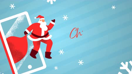 Christmas sale animation of funny santa claus man waving hello with mobile phone and winter snowflake. Holiday business promotion template for online shopping, xmas footage.