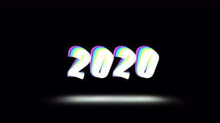 tipo : Happy New Year 2020 video card animation of holiday greetings text quote with shuffle effect in 80s neon holographic colors. Black background 4k seamless loop footage.