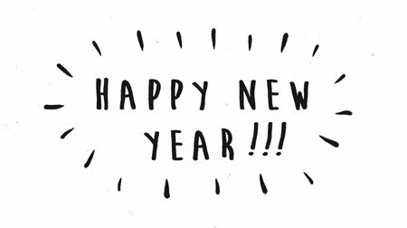 Happy New Year 2020 cinematic countdown animation of funny hand drawn typography timer sign in handwriting cartoon style. White background holiday 4k footage.