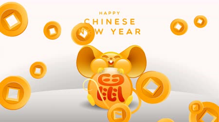Happy Chinese New year 2020 character animation of cute gold mouse animal with traditional asian coins for fortune wishes. Funny animated holiday video card 4k footage. Calligraphy translation: rat.