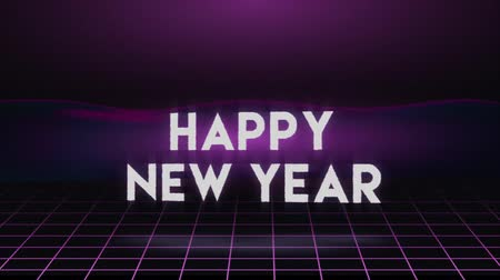 Happy New Year 2020 video card animation of seasons greetings text quote with glitch distortion effect in 80s neon background. Holiday 4k seamless loop footage.