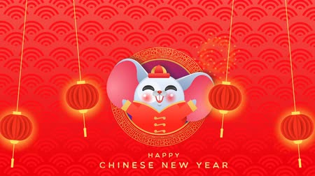 Happy Chinese New Year of the rat cartoon animation, cute mouse animal in costume with traditional China asian lantern. Funny animated video card 4k loop able footage.