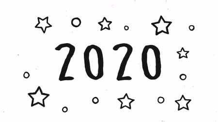Happy New Year 2020 cinematic countdown animation of hand drawn champagne glass toast, cartoon typography sign in handwriting style. White background holiday 4k footage. Wideo