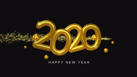 Happy New Year 2020 video card animation of gold 3d calendar number sign with shooting star sparkle trail. Festive background or holiday event intro 4k seamless loop footage.