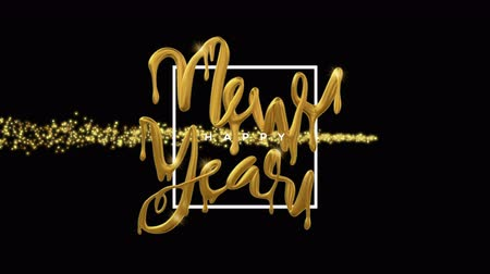 Happy New Year video card animation of gold 3d dripping liquid typography quote with shooting star sparkle trail. Festive background or holiday event intro 4k seamless loop footage.