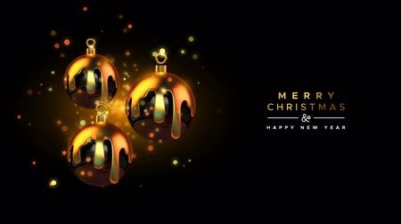 Gold Christmas and New Year animation of realistic golden melted xmas ornament baubles on party night light background. Elegant video greeting card for celebration event. 4k holiday footage background.