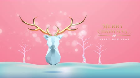 Merry Christmas happy new year animation of 3d low poly reindeer, geometric holiday winter trees in snow scene. Video animated greeting card or intro presentation 4k xmas footage. Wideo