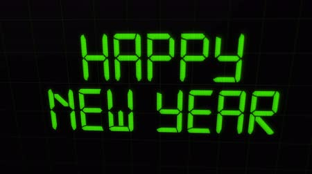 Happy New Year 2020 video card animation of holiday count down for years eve party celebration in retro lcd screen display calendar number date. Digital background 4k footage. Wideo