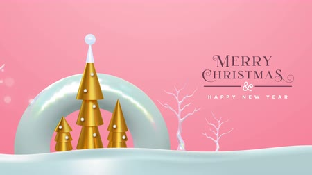 Merry Christmas happy new year animation of abstract gold 3d pine tree, party confetti and holiday winter trees. Video animated greeting card or intro presentation 4k xmas footage.