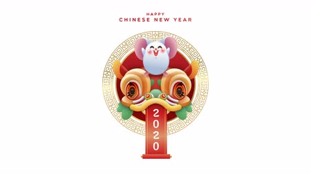 Chinese New Year of the rat 2020 cartoon animation, happy mouse animal with cute lion dance dragon mask. Funny animated video card 4k loop able footage.