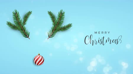Merry Christmas animation of 3d xmas ornament and pine tree making red nose deer shape. Concept reindeer background or video card for celebration event. 4k holiday footage.