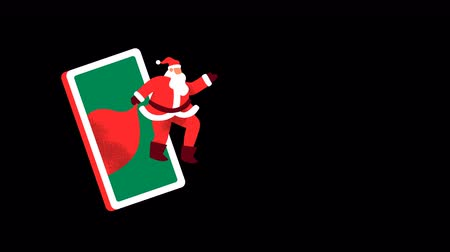Merry Christmas animation of santa claus man waving hello with mobile phone and winter snowflake on empty background. Holiday alpha channel template for video card, loop able 4k xmas footage. Stock mozgókép