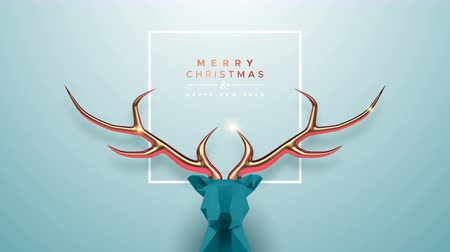 Merry Christmas New Year animation of abstract low poly reindeer with copper antlers, motion graphics festive intro background. Elegant video greeting card for celebration event. 4k holiday footage.