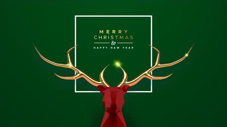 dourado : Merry Christmas New Year animation of abstract low poly reindeer with copper antlers, motion graphics festive intro background. Elegant video greeting card for celebration event. 4k holiday footage.