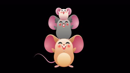 Cute funny mouse animals jumping together on transparent alpha channel background. Little animal friends cartoon animation for children presentation or friend group concept.