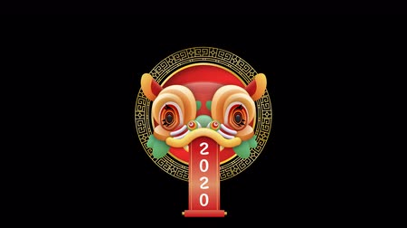 Festive chinese lion dance dragon mask on transparent alpha mate background. New year 2020 traditional culture decoration for festival event intro presentation or seasons greetings.