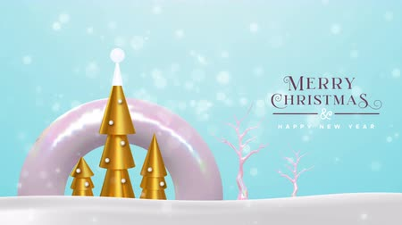 Merry Christmas happy new year animation of abstract gold 3d pine tree, party lights and holiday winter trees. Video animated greeting card or intro presentation with panning camera 4k xmas footage.