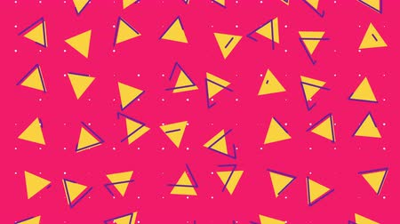 Abstract 80s geometric background animation with colorful triangle shapes in retro style. Seamless loop pop art 4k footage. Vídeos