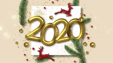 Happy New Year 2020 video greeting card animation in 3d style, deer toy and holiday pine tree for season presentation or party invitation. Confetti and lights motion graphics 4k zoom in footage.