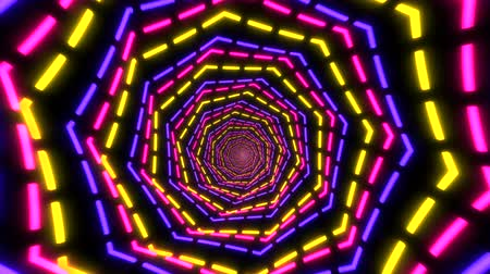 Abstract tunnel loop backgound animation travel, colorful neon party lights in geometric portal shape close up zoom. Seamless 4k creative footage.
