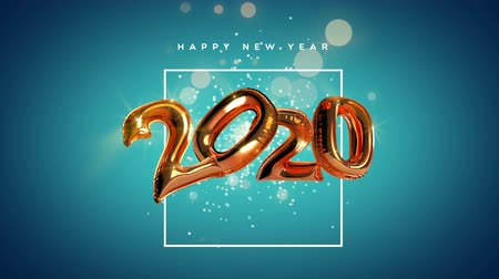 Happy New Year 2020 animation of metallic copper foil balloon number background. Video greeting card with animated 20 numbers for celebration party invitation footage in 4k.