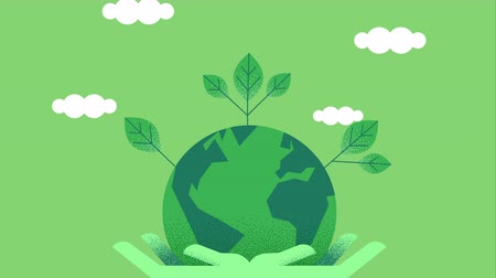 Green people hands holding planet earth, eco friendly tree leaf and sky clouds. Environment care concept cartoon animation with copy space 4k footage. Stock mozgókép