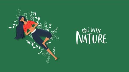 Nature connection cartoon animation concept of happy young woman with green plant hand drawn doodles and eco friendly text quote. 4k environment care footage.