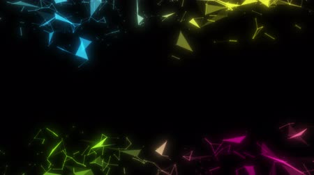 Abstract seamless loop animation of colorful geometric flow on black background for technology or science business concept with empty copy space. Modern fast dynamic 4k footage.