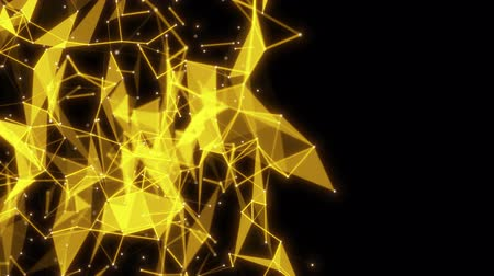Abstract seamless loop animation of golden geometric flow on black background for technology or science business concept with empty copy space. Modern fast dynamic 4k footage.