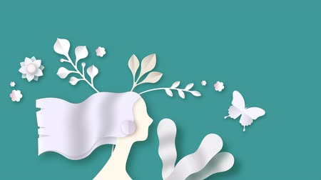 Beautiful spring woman animation in paper cut craft style. Concept 4k loop video card of girl with floral papercut decoration and butterfly for women event presentation or nature footage.