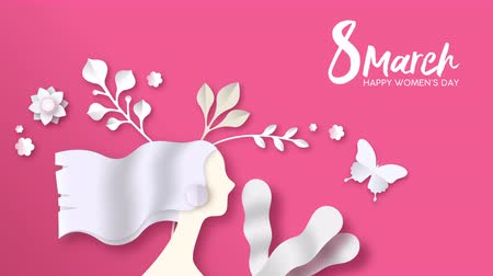 International Womens Day video art animation of paper cut woman face with spring flowers and cutout butterfly on pink background. Women holiday event footage, modern 4k campaign template.