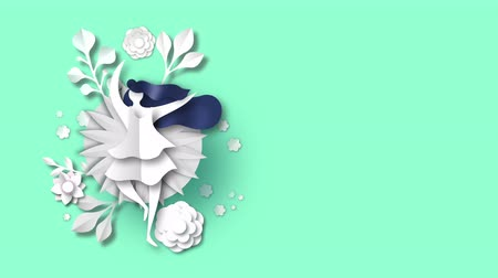 Beautiful spring woman animation in paper cut craft style. Concept 4k loop video card of girl dancing with floral papercut decoration for women event presentation or nature footage. Stock mozgókép