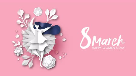 International Womens Day video art animation of paper cut woman dancing with papercut flowers and spring craft decoration on pink background. Women holiday event 4k social campaign template. Wideo