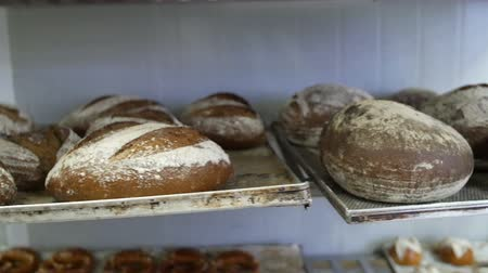 pastelaria : Bread on Shelves in Bakery Stock Footage