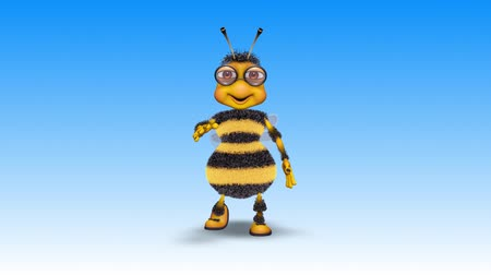 cera d api : Bee 3D Fun Character, 2 Video Loops - on Background and on Alpha Channel Filmati Stock