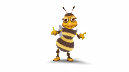 taniec : Bee 3D Fun Character. 2 Video Loops - on Background and on Alpha Channel Wideo