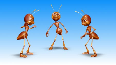колония : Ant 3D Fun Character. 2 Video Loops - on Background and on Alpha Channel Стоковые видеозаписи