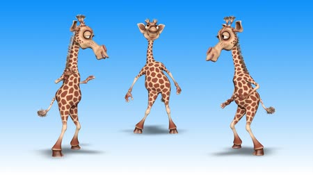 taniec : Giraffe 3D Fun Character. 2 Video Loops - on Background and on Alpha Channel