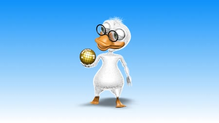 polowanie : Duck 3D Fun Character. 2 Video Loops - on Background and on Alpha Channel
