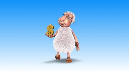 ewe : Sheep 3D Fun Character. 2 Video Loops - on Background and on Alpha Channel