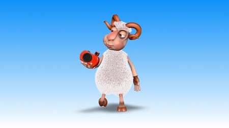 ewe : Ram 3D Fun Character. 2 Video Loops - on Background and on Alpha Channel