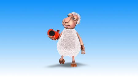 gyapjas : Sheep 3D Fun Character. 2 Video Loops - on Background and on Alpha Channel