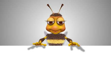 スティンガー : Bee 3D Fun Character. 2 Video Loops - on Background and on Alpha Channel 動画素材